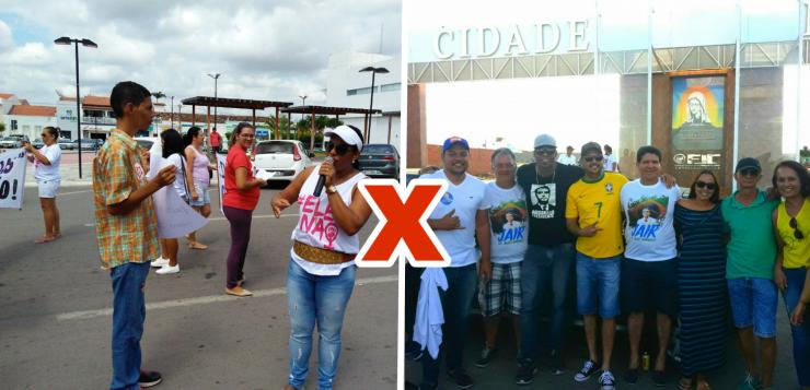 Manifestações contra e a favor de Bolsonaro em Riachão do Jacuípe